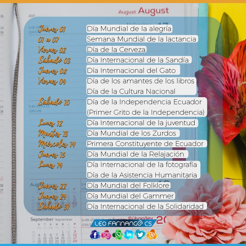 Calendario efemérides Agosto Community Manager Leo Farinango CS