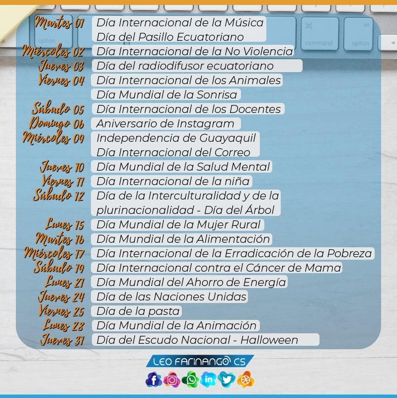Festividades-Octubre-Efemérides-Leo-FarinangoCS-Community-Manager-Quito